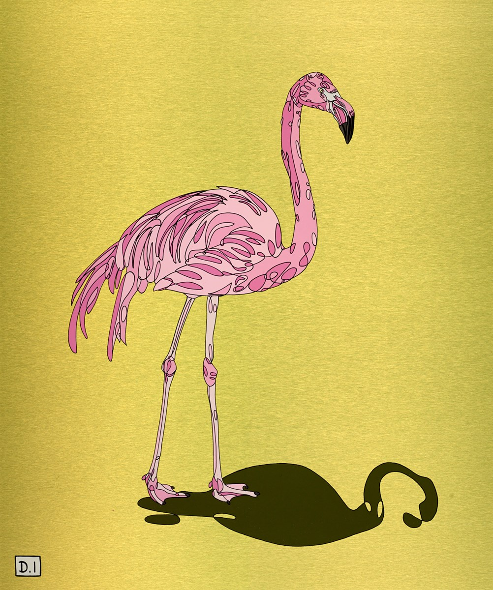 Pink Flamingo on Green by dylan izaak -  sized 20x24 inches. Available from Whitewall Galleries